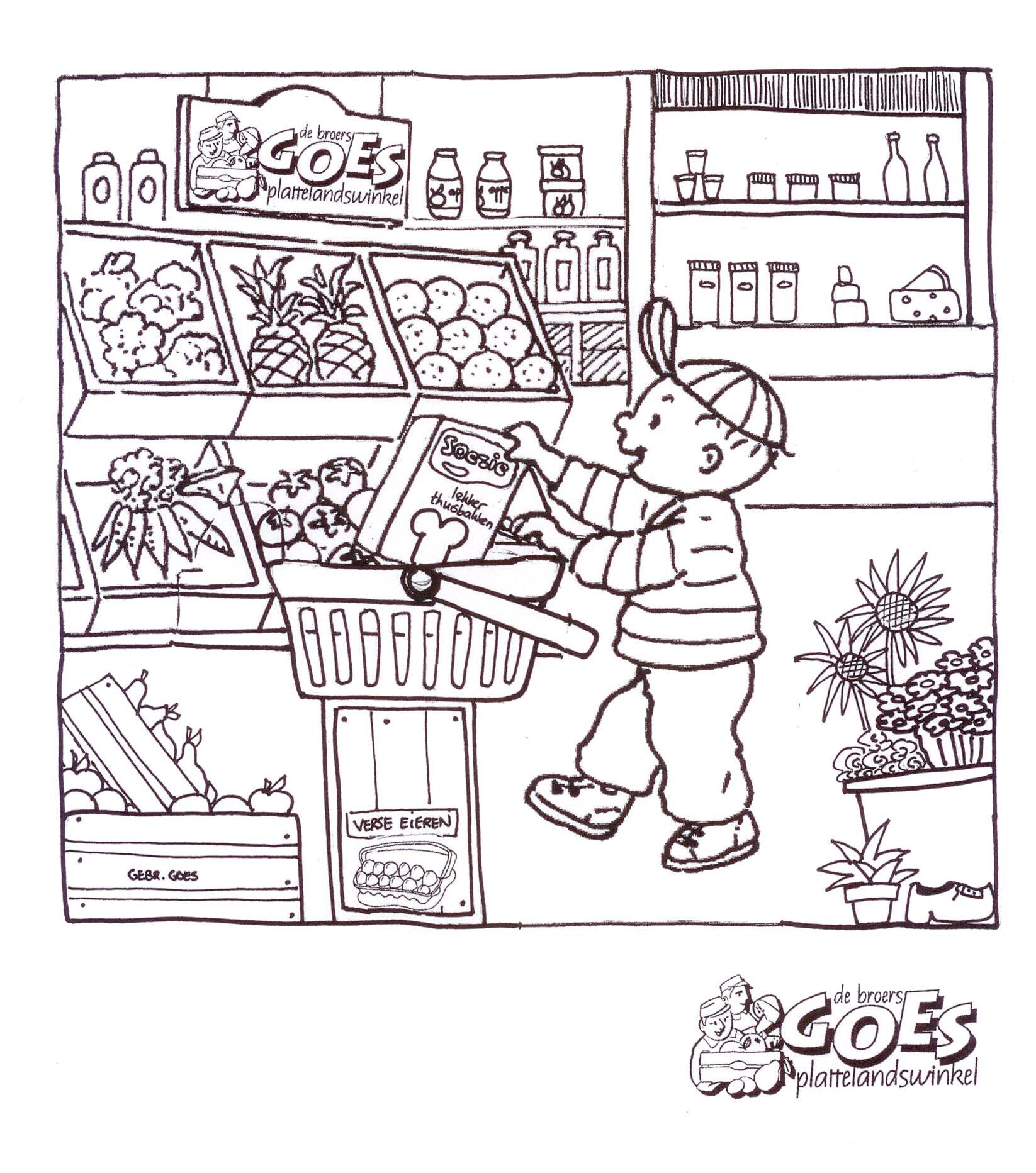kleurplaat voor de kinderen plattelandswinkel en